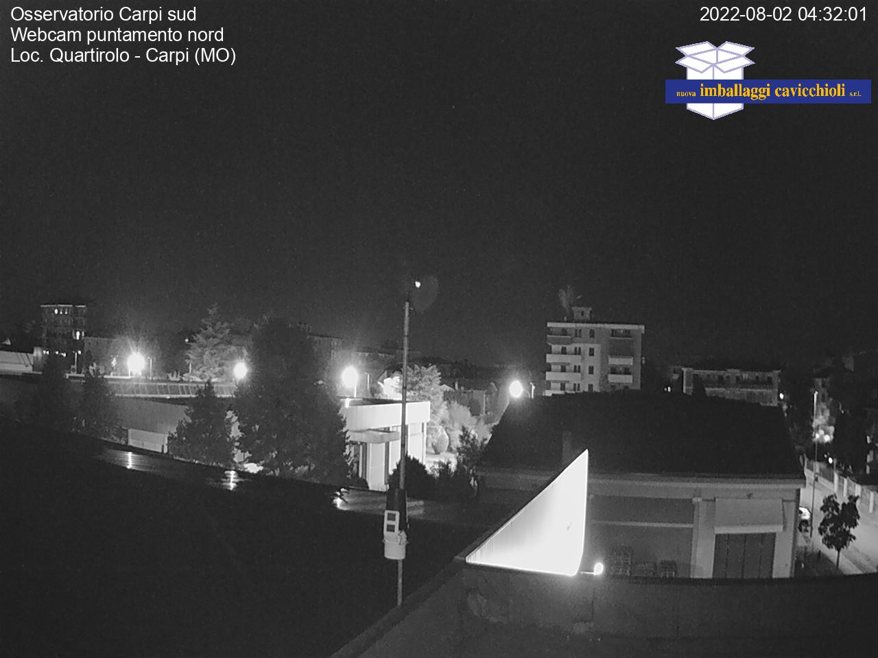 Osservatorio Carpi sud<br>Webcam puntamento nord<br>Loc. Quartirolo - Carpi (MO)